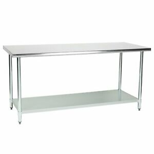 Commercial Kitchen Prep And Work Table 72 inch X 30 inch 430 Stainless Steel