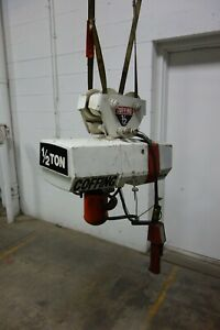 Used Coffing 1 2 Ton Electric Chain Hoist Trolley Ec 1032 3 3ph 10 Ft