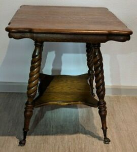 Antique Victorian Oak Parlor Table Barley Twist Legs Claw Feet Glass Excellent