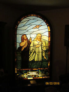 Beautiful Jesus Vintage Stained Glass Church Window Late 1800 S
