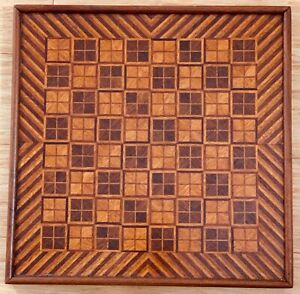 Outstanding Antique Wooden Parquetry Inlaid Checkerboard Gameboard Best Aafa