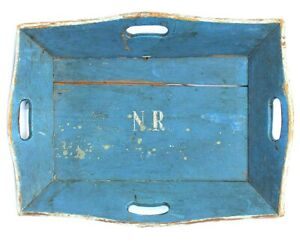 Fine 19th C Best Blue Painted Apple Tray W Handles Splayed Sides Great Aafa