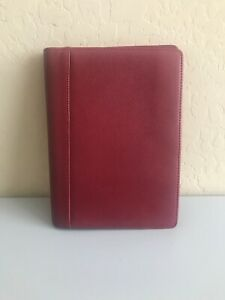 Franklin Covey Classic Red Leather Unstructured Planner Organizer No Rings