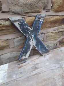 Vintage Retro Reclaimed Salvage Shop Letter Sign Industrial X Letter X Wooden