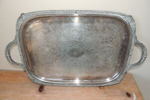 L K Vintage F B Rogers 6377 Silverplate Engraved Heavy Waiter Tray 21 X 13