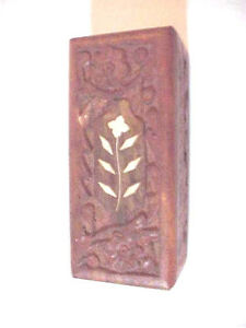 Wood Box Rectangle Carved Mother Of Pearl Flower Leaves Inlay Dark Wood