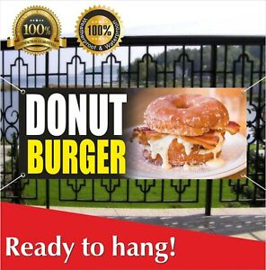Donut Burger Banner Vinyl Mesh Banner Sign French Fries Steak Carnival Fair