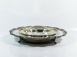 Vtg Poole Epca Silverplate Lancaster Rose Divided Round Serving Tray Platter