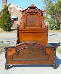 Nice Walnut Victorian High Back Bed Circa 1865 Mattress Area 54 Wide 82 Long
