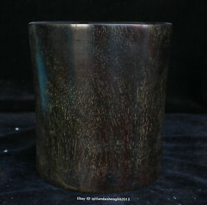 15cm Collect Chinese Old Ebony Wood Handmade Brush Pot Wooden Sculpture Qfhk