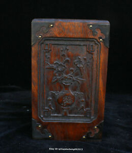 17 5cm Collect Chinese Old Rosewood Handmade Orchid Brush Pot Sculpture Qfhk