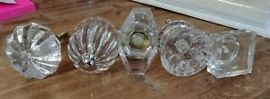 Victorian Trading Co 5 Different Glass Brass Drawer Pull Knob 4c