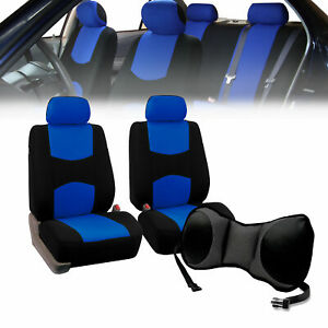 Front Bucket Seat Covers Blue With Seat Back Cushion Pad Gray For Auto Car Suv