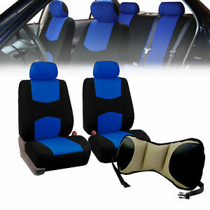 Front Bucket Seat Covers Blue With Seat Back Cushion Pad Beige For Auto Car Suv