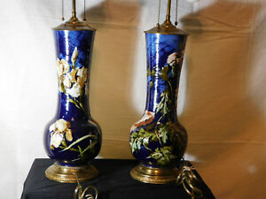 Pair Antique C1860 88 Montigny Sur Loing French Barbotine Majolica Signed Lamps