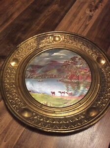 Estate Found Vintage Copper Tray Ornate Pattern Victorian Oil Painting Art Deco