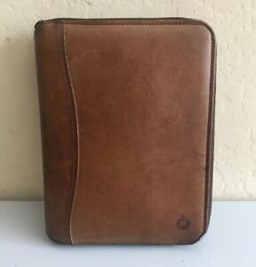 Franklin Covey Brown Genuine Leather Classic Binder Planner Organizer 7 Rings