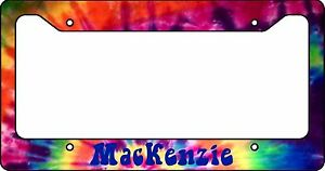Personalized License Plate Frame Custom Car Tag Tie Dye Hippie Hipster