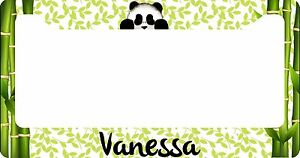 Personalized License Plate Frame Custom Car Tag Cute Panda Bamboo Green