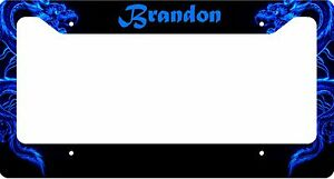 Personalized License Plate Frame Custom Car Tag Blue Dragon