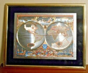 World Map Foil Etching Nova Totius Terrarum Orbis Geographica Matted And Framed