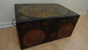 Antique Chinese Chest Trunk Leather Calligraphy Old Blossom Bird 27x18x13