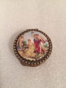 Antique Brass Pill Box With Porcelain Hinged L