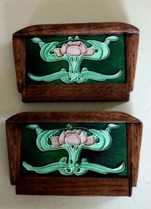 Arts Crafts Tiles W Handcrafted Mission Oak Frame A Pair