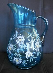 Antique Glass Lemonade Pitcher Blue With Handpainted Daisies 1920 S Or Earlier