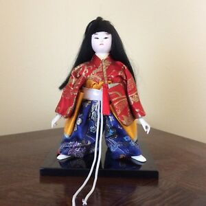 Vintage Japanese Female Doll In Kimono With Sword On Stand Estate Find A 1 Cond