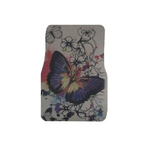 Big Purple Butterfly W Flowers For Lady Carpet Floor Mats 4pc Car Truck