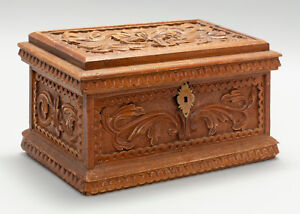 Antique 19th Century Ornately Hand Carved Wooden Lift Top Document Box Folk Art