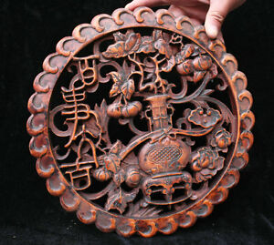 Chinese Huanghuali Wood Hand Carved Lucky Flower Vase Set Wall Hanging