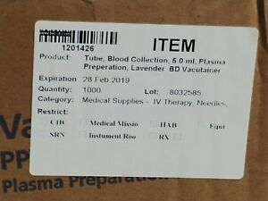 Vacutainer Plastic Molecular Diagnostics Tubes Case Lot Of 1000 362799 Expired