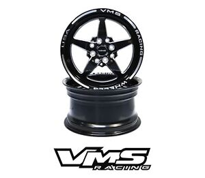 X2 Vms Racing 5 Spoke Star 13x9 Black Import Drag Rims Wheels For Honda Civic Ek