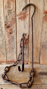 C1720 Hand Forged Antique Chain Trammel Early Primitive Open Hearth Cooking Tool