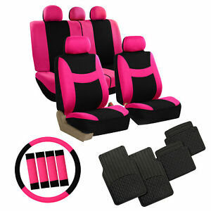 Pink Car Seat Covers Set For Auto W steering Wheel belt Pad floor Mat