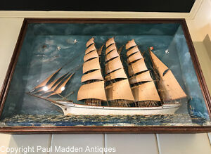 Antique Ship Model Shadow Box Of The Palmira
