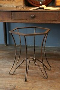 Vintage Industrial Art Deco Steel Console Entry Table Coffee Table Octagon Stand
