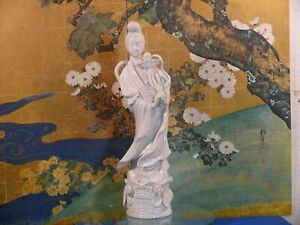 Chinese Blanc De Chine Standing Figure White Porcelain 15 1 4in