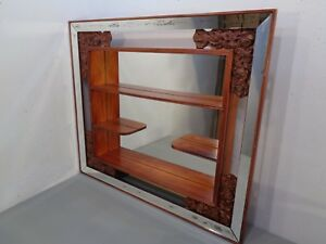 Vintage Mid Century Modern Shadow Box Mirror Shelves Illinois Molding Co Nice