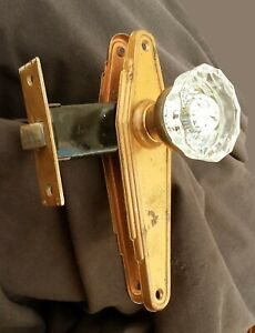 2 Avail Vintage Antique Art Deco Door Lockset Passage Set Glass Knob Plate Lock