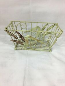 Shabby Chic Farm House Style Green Metal Basket With Decorative Metal Decors