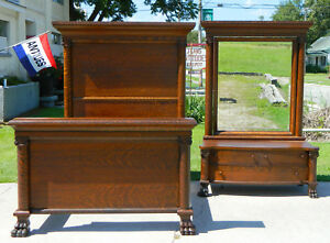 High Back Tiger Oak Bed And Dresser Circa 1900