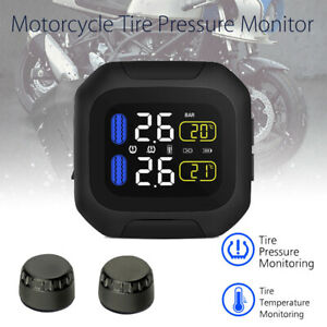 Wireless Motorcycle Tpms Tire Tyre Pressure Monitor System W 2 External Sensor