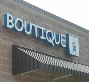 Lighted Business Outdoor Sign 20 Channel Letters boutique Plus Box on Raceway