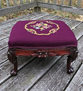 Antique 1870 S Victorian French Mahogany Hand Carved Wooden Foot Stool Rest Seat