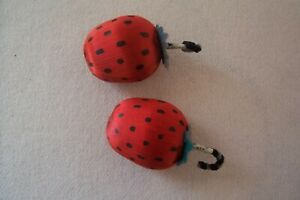 2 Antique Vtg Japan Strawberry Christmas Tree Ornaments Pipe Cleaner Hangers