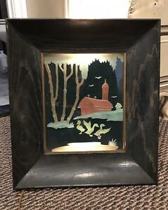 Antique Art Deco Reverse Painted Scenery Light Box Framed Wall Hang Lighted