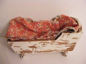 Antique Primitive Distressed Small Baby Doll Cradle 12 1 2 W Quilt Pieces
